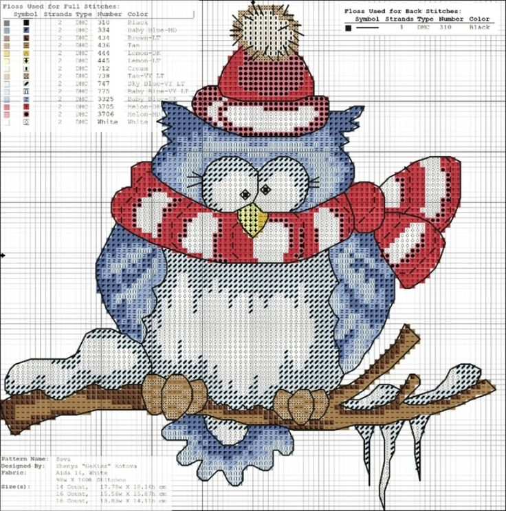 Owl with scarf and snowy branch cross stitch and many more on their site.......