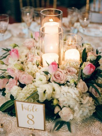 Candle Centerpiece Floral Wreath White And Pink Flower Arrangements From