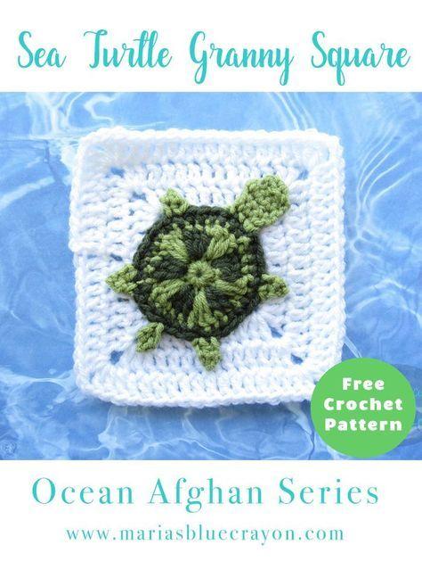 Crochet Sea Turtle Granny Square | Sea Turtle Applique | Free Crochet Pattern | Ocean Themed Granny Square Afghan