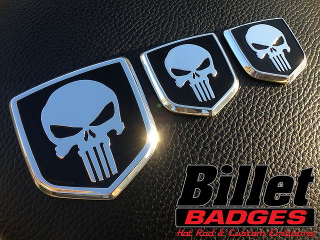 These Punisher Skulls fit: 09_12 Grille, 03_08 Tailgate and 06_08 Grille Dodge Shield polished with black background paint fill. For more info visit www.billetbadges.com.  #billetbadges #Dodge #truck #Punisher #emblem #custom #madeinusa