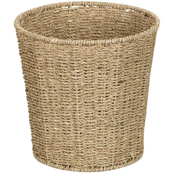 Household Essentials Seagr Wicker Wastebasket 27 Liked On Polyvore Featuring Home Bed Bath Accessories Brown Ac