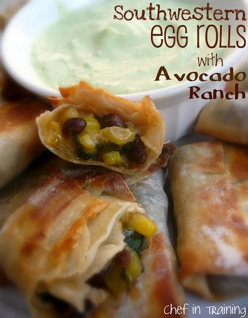Southwestern Egg Rolls with Avocado RanchWonton Wrappers, Recipe, Southwestern Eggs Rolls, Eggrolls, Food, Egg Rolls, Ranch Dips, Avocado Ranch, Holiday Appetizers