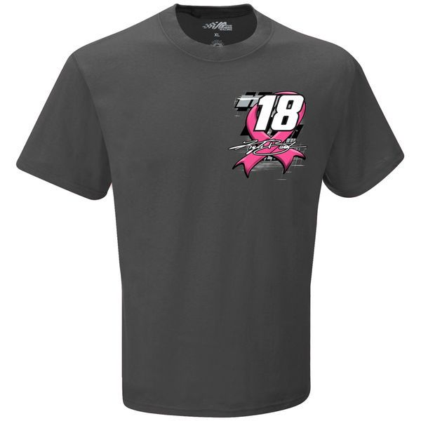 Kyle Busch Joe Gibbs Racing Team Collection M&M's Racing Breast Cancer Awareness Car T-Shirt - Charcoal - $24.99
