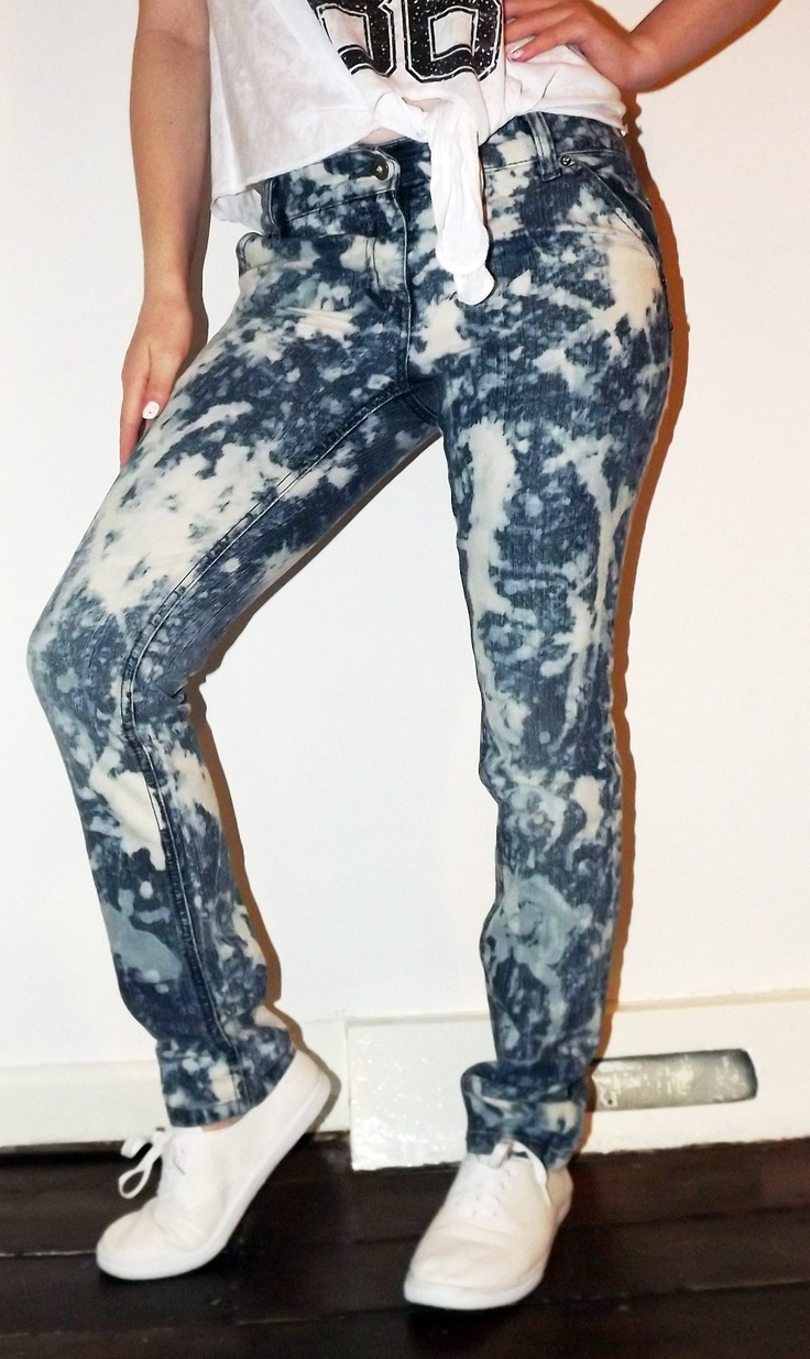 DIY ACID WASH JEANS... For our production of Footloose!!!
