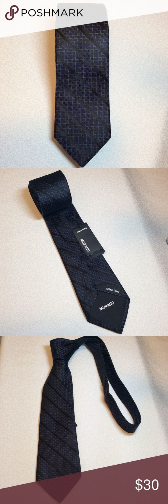 NWT men's extra long black with blue design tie NWT men's extra long tie. If you've ever looked for the extra long ties you know how hard they are to fine these are perfect for the big and tall man in your life.  Questions???  Please ask Murano Accessories Ties