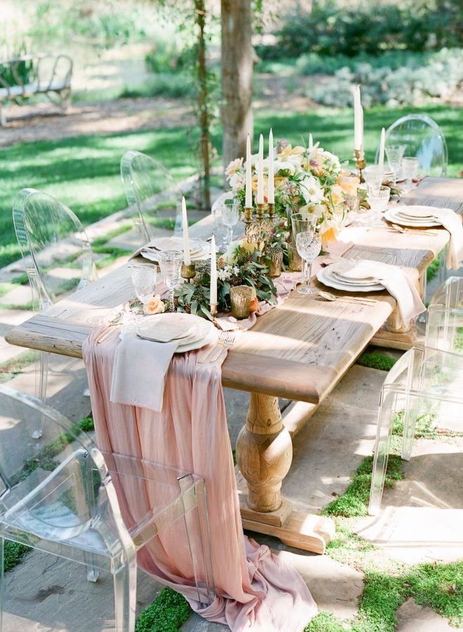 Romantic blush pink chiffon table runner