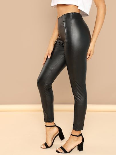 3711750b53 Zipper Detail Faux Leather Leggings -SheIn(Sheinside) | FASHIONISTA ...
