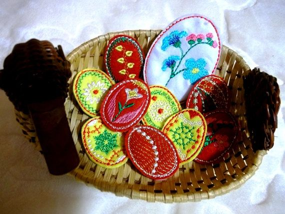 Easter eggs made of felt No.4  Machine by EmbroideryRady on Etsy