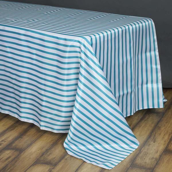 90x156 White Turquoise Stripe Satin Tablecloth In 2020 Satin Stripes Rectangle Tablecloth Striped Tablecloths