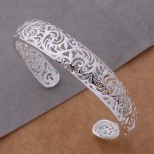 Venta caliente de moda joyería de plata esterlina 925 de los brazaletes de puño borde de paquetes ahueca hacia fuera la pulsera / ayzajqga AB077(China (Mainland))