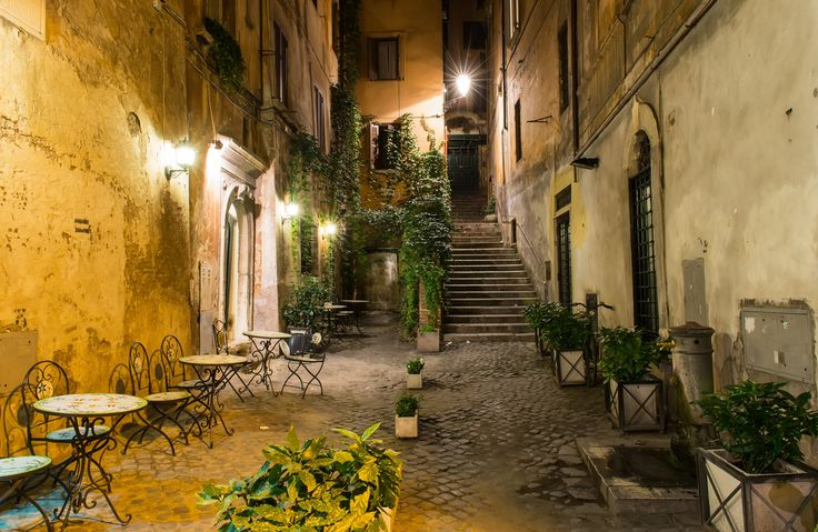 Italy, Rome, Old Courtyard.
