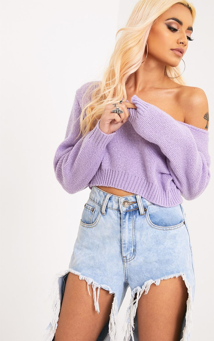 Adelaida Lilac Soft Knitted Off the Shoulder Crop