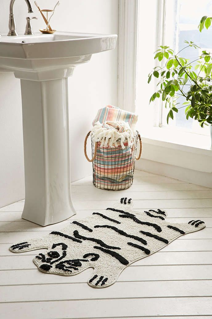 Magical Thinking Tiger Bath Mat - Urban Outfitters.  Kids bathroom for sure!
