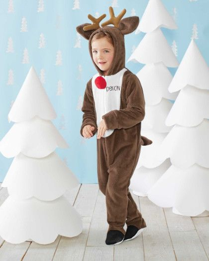 """Personalized Plush Rudolph Pj's - exclusively ours - When the weather cools, cozy Rudolph the Red-Nosed Reindeer® pj's -- with antlers and a red pompom """"nose,"""" of course -- are fun for playtime and nighttime. We'll personalize the one-piece fleece pj's (maximum 10 characters) for a unique touch. The tail is removable, and grippers on feet bottoms help prevent slips. Allow an additional 5 business days for personalization."""