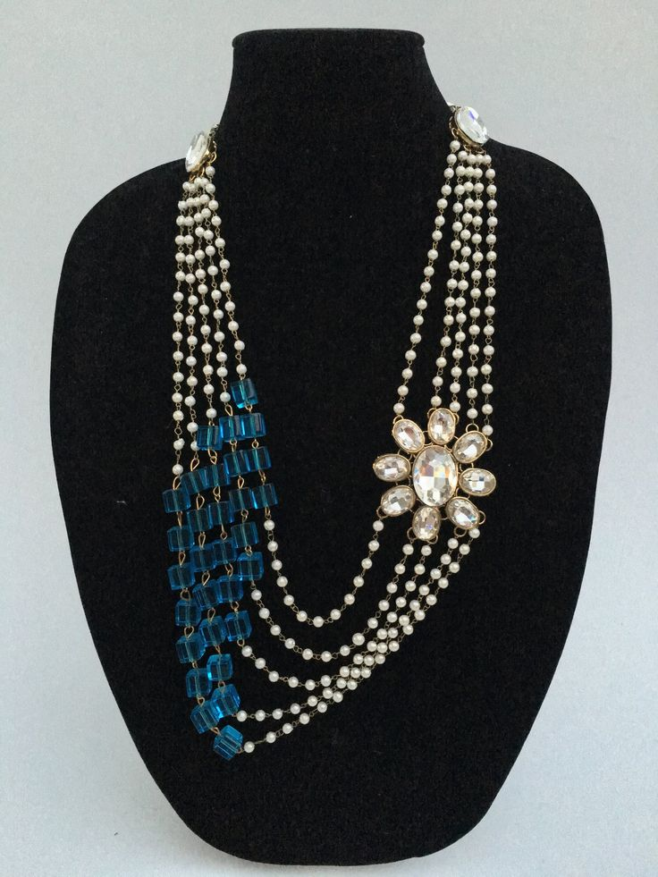 Long Pearl Indian Necklace - White & Blue