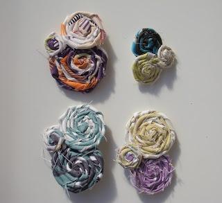 fabric swirl brooches