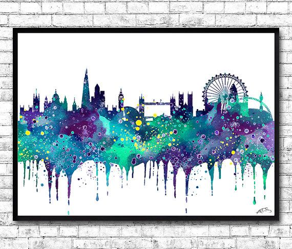 London Watercolor Print Blue/Purple City Skyline by ArtsPrint