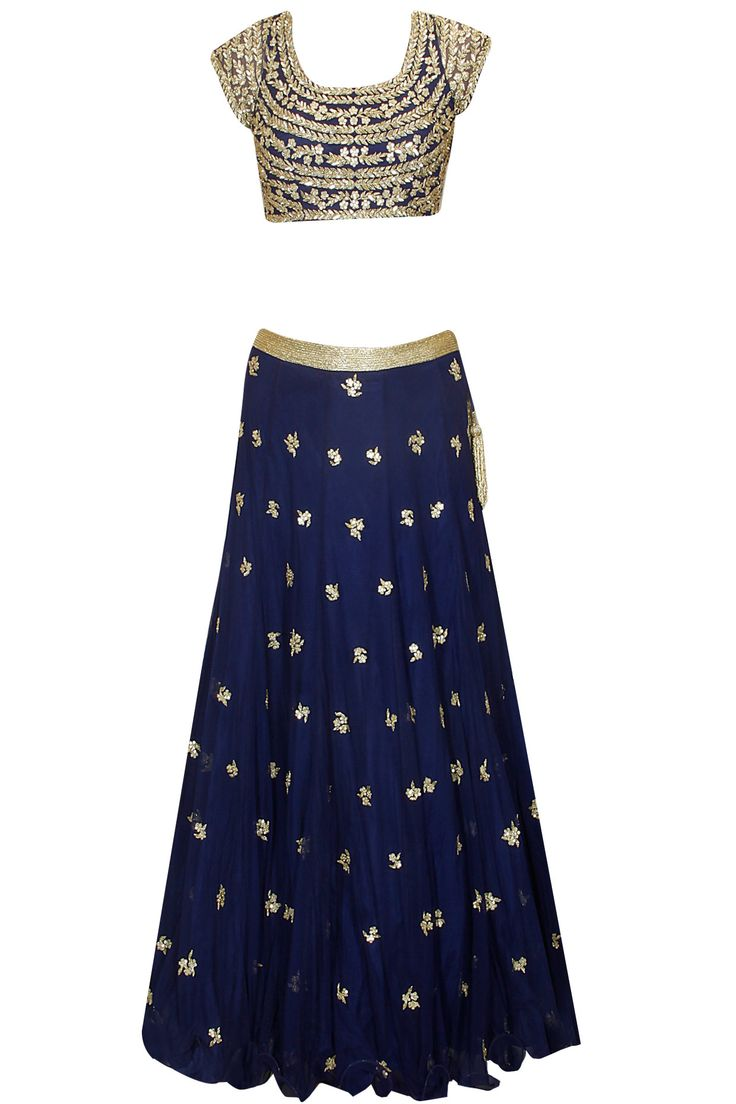 Navy blue hand embroidered lehenga set with embellished dupatta available only at Pernia's Pop Up Shop.