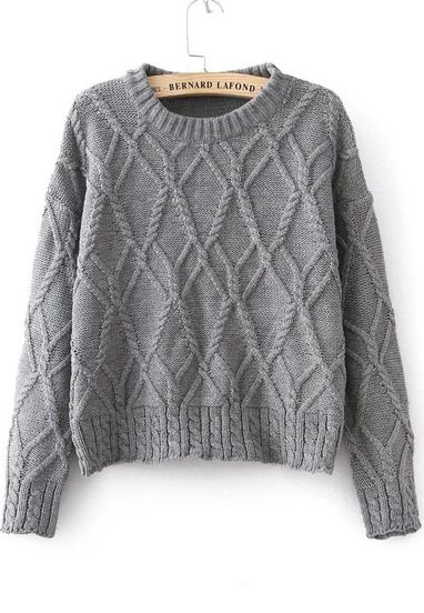Grey Long Sleeve Cable Knit Sweater pictures