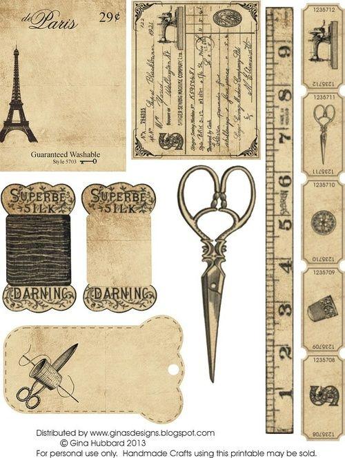 Miniature Printables - Sewing Items.                               【资源】可打印的素材~2.7有更新~