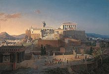 "Reconstruction of the Acropolis and Areios Pagos in Athens, Leo von Klenze, 1846. The Acropolis of Athens, is an ancient citadel located on a high rocky outcrop above the city of Athens and containing the remains of several ancient buildings of great architectural and historic significance, the most famous being the Parthenon. The word acropolis comes from the Greek words ἄκρον (akron, ""edge, extremity"") and πόλις (polis, ""city"")."