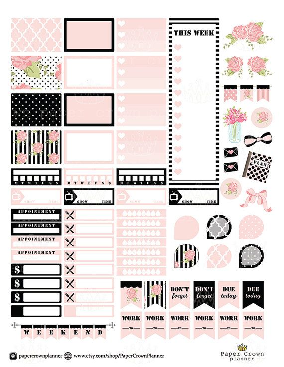 Black and Blush Printable Planner by PaperCrownPlanner on Etsy                                                                                                                                                                                 More