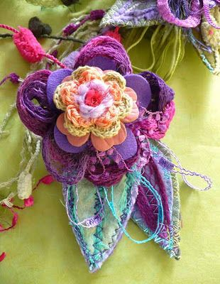 create funky brooches with fabric, etc
