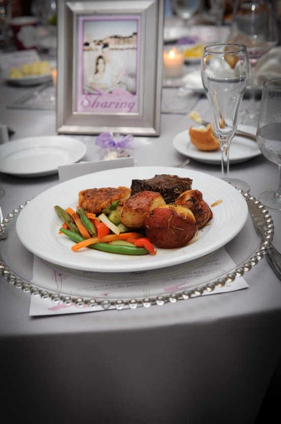 Plated Entrees For Wedding Reception On Top Of Clear Charger With Embellished Edges Sheraton