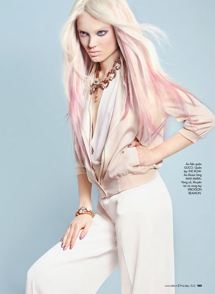 Cool styling and stunning model. Naty Chabanenko sports the pastel hair trend for a new story by Kevin Sinclair featured in the April issue of Elle Vietnam.