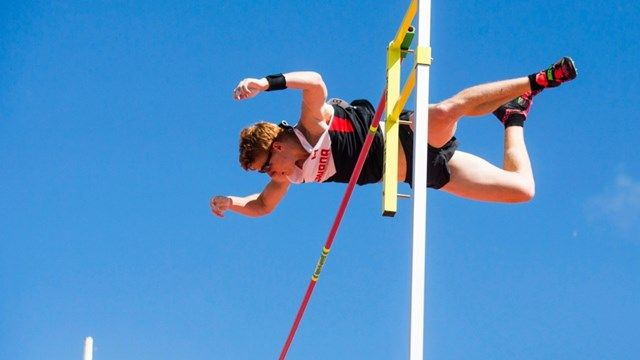 Shawnacy Barber of Canada clears the bar on his way to winning the gold medal in men's pole vault. July 22 2015