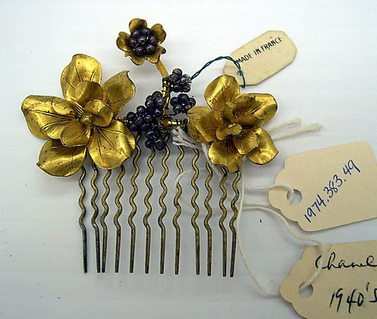 Comb House of Chanel (French, founded 1913) Date: 1950s Culture: French Medium: metal, glass
