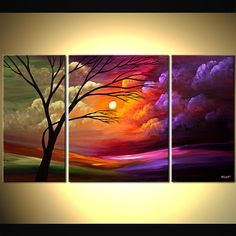 """Modern Landscape Abstract Painting Colorful Acrylic Tree Painting Purple, Pink, Orange, Green by Osnat - MADE-TO-ORDER - 54""""x30"""""""