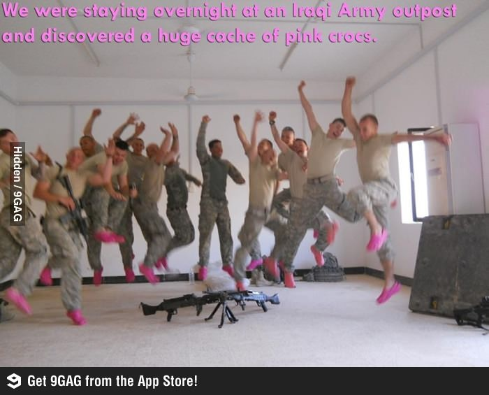 """""""We were staying overnight at an Iraqi Army outpost and discovered a huge cache of pink crocs."""" Being in the army is fabulous!"""