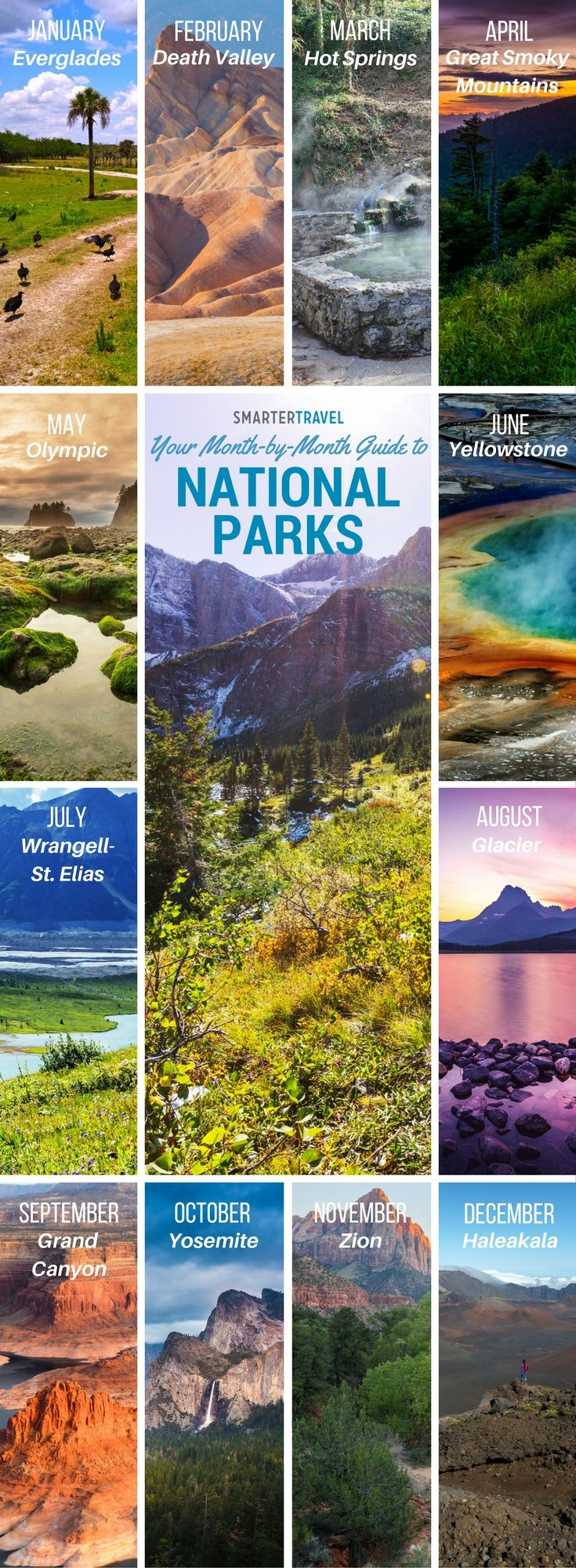 This is a great idea--National Parks AND the best months to visit them--because it's something you really want to consider. Check out the full article at Smartertravel.com