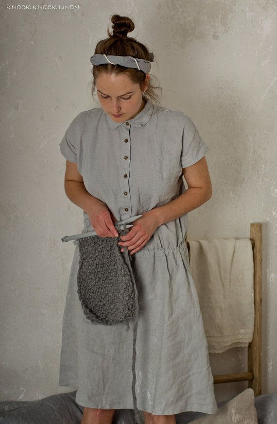 LINEN SHIRT DRESS  Each item is individually cut and sewn by order, especially for you. Handmade, quality items take time, please allow