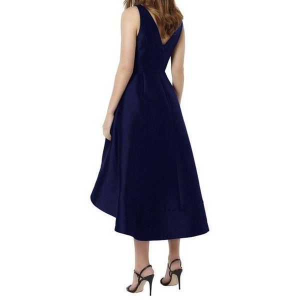 Elegant Midi Bridesmaid Dress,V-neck A-line Bridesmaid Gown,Navy Blue... ($125) ❤ liked on Polyvore featuring dresses, gowns, blue bridesmaid dresses, bridesmaid dresses, high low gown, blue dress and navy blue bridesmaid dresses