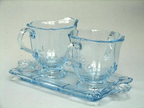 Vintage Fostoria Baroque Blue Azure Sugar Creamer on Tray - I love Depression Glass!
