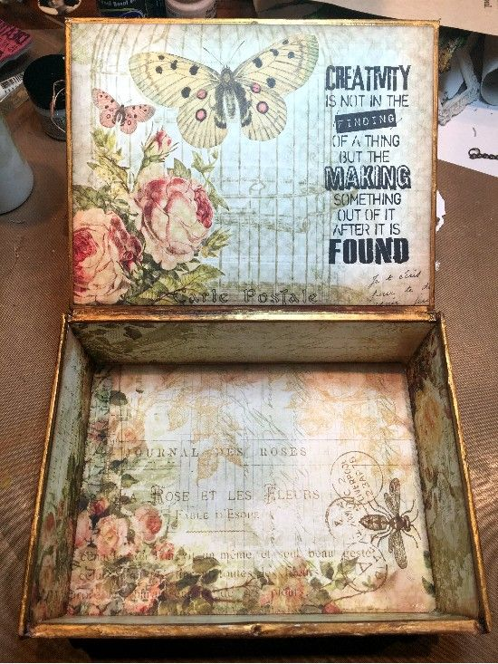 CREATIVITY IS CONTAGIOUS: APRIL'S ART ADVENTURE ~ AN ALTERED CIGAR BOX FOR CREATIVE CARTE BLANCHE