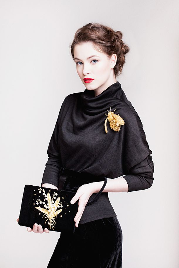 Gold embroidered brooch and velvet clutch  Eve Anders. Goldwork embroidery