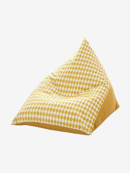 Puf pera - Amarillo medio liso con motivo - 4