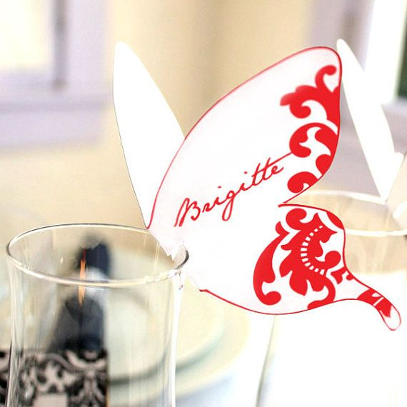 Red and White Printable Damask Butterfly Place cards