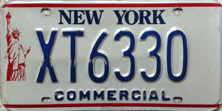 New York Statue Of Liberty Commercial License Plate