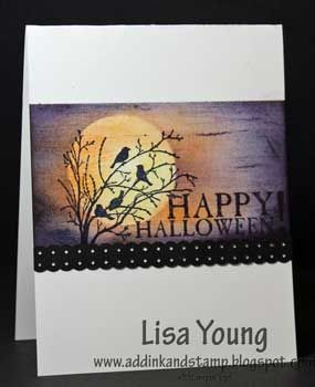 Add Ink and Stamp: Halloween card..posted by Lisa Young...For this card I stamped and sponged directly onto the base card. I just masked off the top and bottom first.