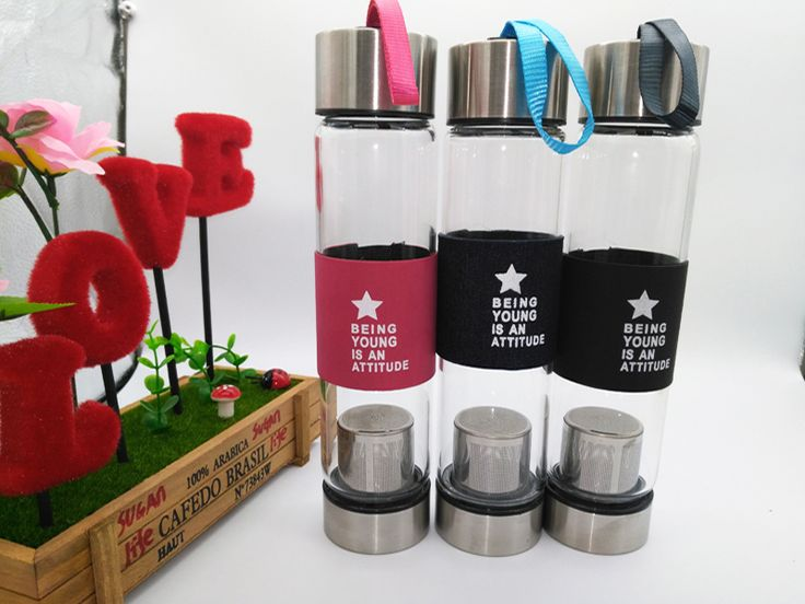 Free Shipping New 450ML Glass water bottle with tea infuser my drink 500 ml whey protein shaker sports bootle travel bottles mug