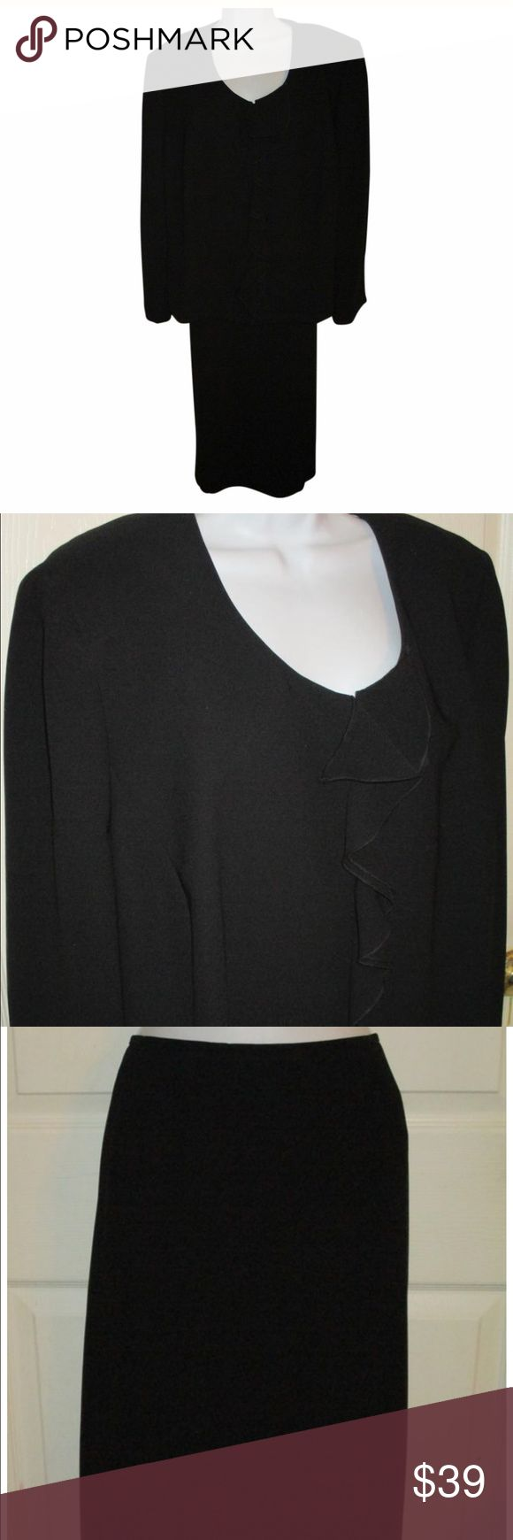 Tahari black long skirt suit size 22W This is a gorgeous black skirt suit size 20 2W. Material 100% polyester fully lined. The jacket bust measurement is 56 inches in length is 24 inches. The waist measurement is 46 inches and the length of the skirt is 32 inches. Tahari Woman Skirts Skirt Sets