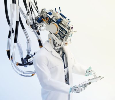 Futuristic connected robotic doctor with tablet by Ociacia