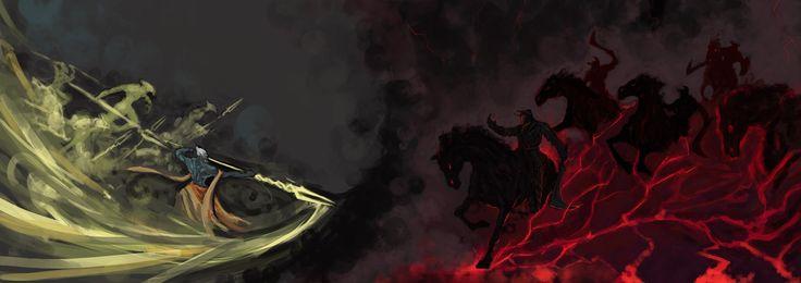 Столкновение, добро и зло, магия, черные всадники, мужчина с посохом