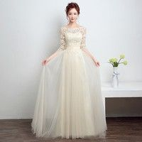 Elegant Boat Neck Cheap Wedding Party Dress 3/4 Sleeve Prom Dress Cheap Champagne Tulle Bridesmaid D