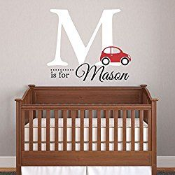 """Nursery Boys Name and Initial Car Personalized Name Wall Decal 28"""" W by 27"""" H, Boys Nursery Name Decals, Boys Cars Wall Decals, Boys Room Wall Stickers, Decals For Boys PLUS FREE HELLO DOOR DECAL"""