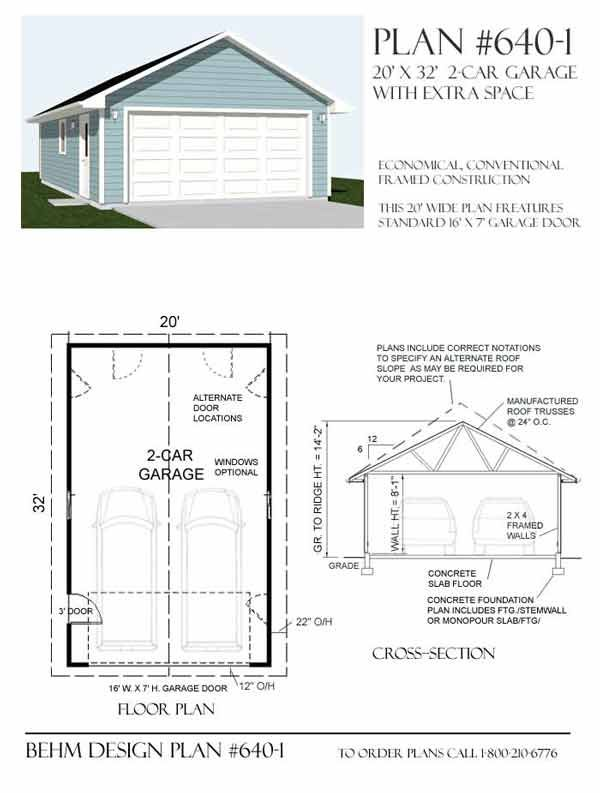 Two car garage plan 640 1 20 39 x 32 39 by behm design for Two car garage with workshop plans